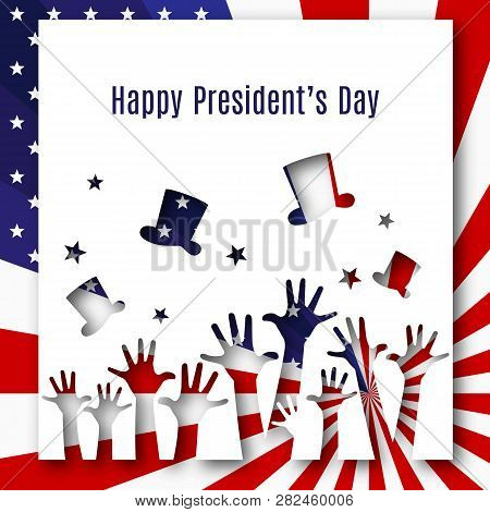Happy President Day Text Banner Hands Hats On American Flag Background Patriotic American Theme Usa