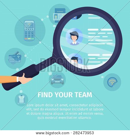 Find Your Team Flat Vector Square Advertising Banner. Job Search Service, Recruiting Company Promo P