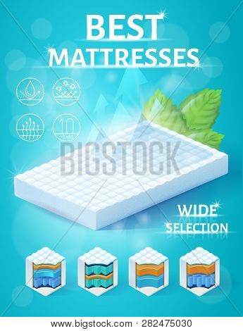 Orthopedic Mattress With Breathable And Hydrophobic Surface Isometric Vector Promo Banner Or Flyer.