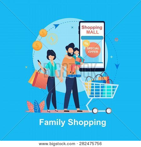 Family Shopping. Special Offer. Shopping Mall. Young Happy People Mall. Family Budget. Saving Money.