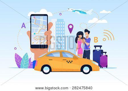 Diverse Modern Fleet Maximizes List Services. Vector Illustration. Taxi Bonus Program. Convenient Mo