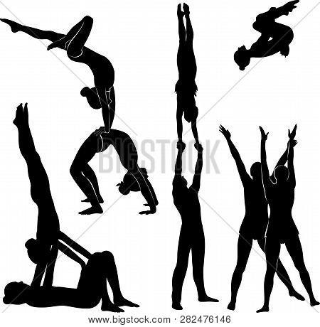 Gymnasts Acrobats Vector Black Silhouette. Acrobatics Logo
