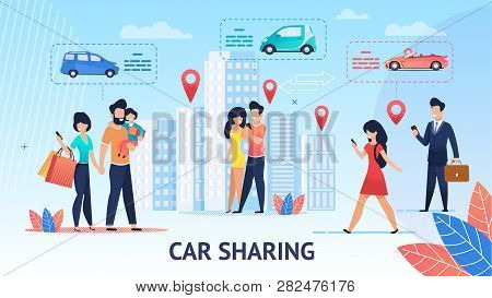 Car Sharing. Short Trips For Family Inside City. Vector Illustration. View Around City Comfortable E