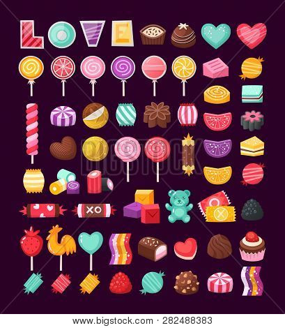 Set Of Colorful Valentine Sweets For Loving Couples. Vector Candies Decorated With Valentines Day El