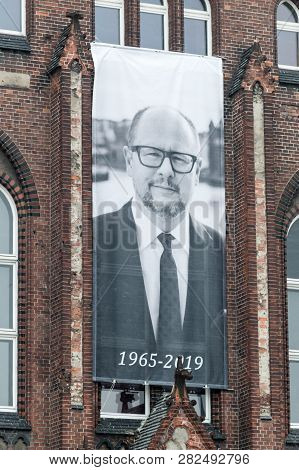 Gdansk, Poland - January 25, 2019: Black And White Picture Of Pawel Adamowicz After His Death At Mik