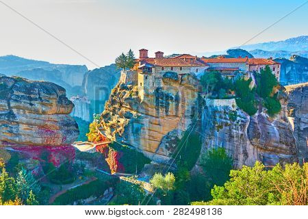 The Varlaam monastery on the top of the rock in Meteora, Kalampaka, Greece