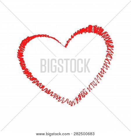 Graingy Textured Heart. Vector Unique Heart. Fashionable Image Of The Heart. Hand Drawing Heart.