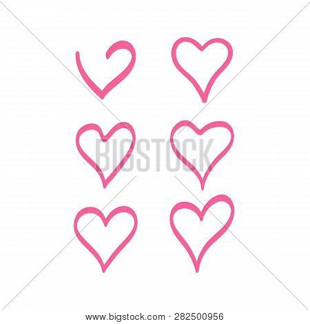 Vector Set Of The Hearts. Heart Templates. Variety Heart Shapes. Valentines Hearts. Kit Of The Heart