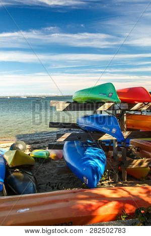 PROVINCETOWN, MASSACHUSETTS, USA - SEPTEMBER 14: Sea kayaks with ocean view and blue sky in Provincetown , USA on September 14, 2014