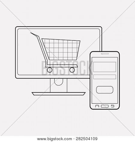 E-commerce Website Icon Line Element. Vector Illustration Of E-commerce Website Icon Line Isolated O