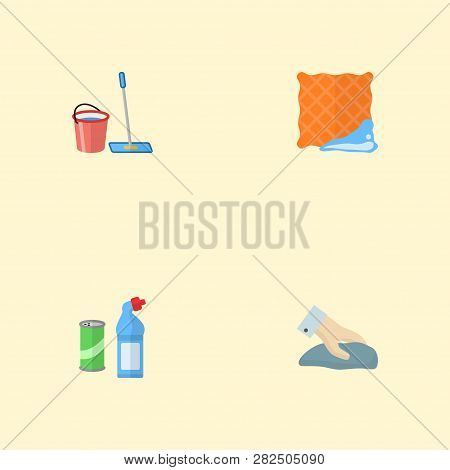 Set Of Cleaning Icons Flat Style Symbols With Clean Cloth, Wiping, Bucket With Besom And Other Icons