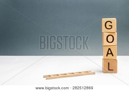 Tower Of Cubes With An Inscription Goal And A Fallen Ladder. The Concept Of Achieving The Goal, Subj