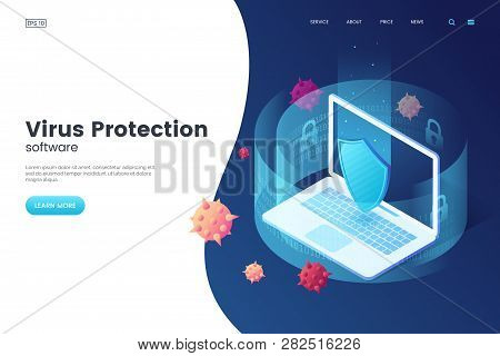 Virus Protection Vector Illustration. Internet Security. Cyber Attack On The Computer. Computer Prot