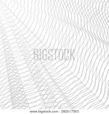 Monochrome Line Art Pattern, Textile, Net, Mesh Textured Effect. Vector Abstract Pleated Net. Gray S