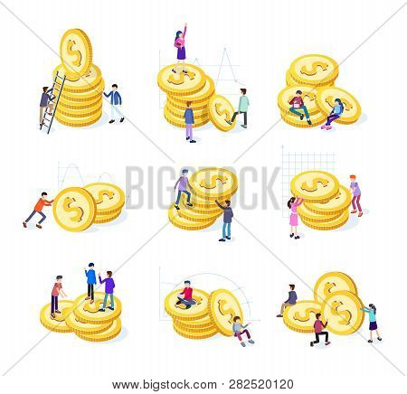 Creative Business Team Work Concept. Business People With Coins And Graphs. Business Investment Set