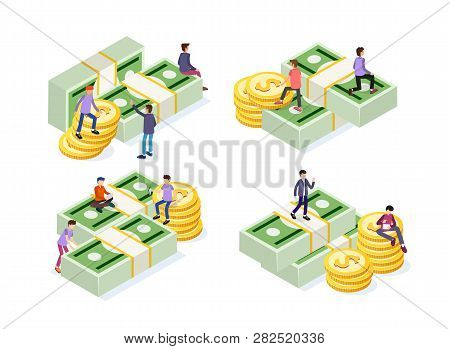 Creative Business Team Work Concept. Business People With Coins And Currency. Business Investment Se