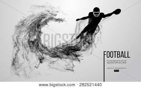 Abstract Silhouette Of A American Football Player On White Background From Particles, Dust, Smoke, S