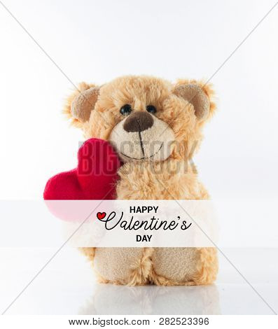 Happy Valentine's day text, Cute Teddy bear holding heart, Love Background