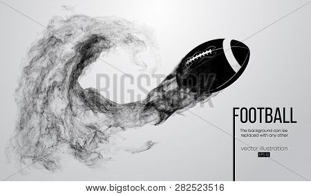 Abstract Silhouette Of A American Football Ball On White Background From Particles, Dust, Smoke, Ste