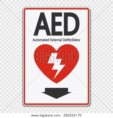Symbol Aed Sign Label On Transparent Background