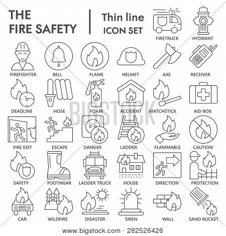 Fire safety thin line icon set, emergency symbols collection, vector sketches, logo illustrations, urgency signs linear pictograms package isolated on white background, eps 10. poster