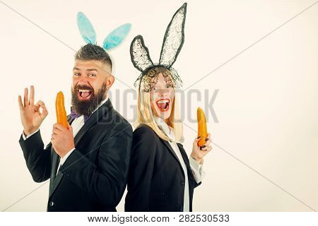Funny Easter Bunny. Funny Couple In Banny Ears. Happy Easter And Funny Easter Day. Bunny Rabbit Ears