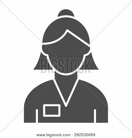 Woman banker solid icon. Bank worker vector illustration isolated on white. Female account manager glyph style design, designed for web and app. Eps 10. poster