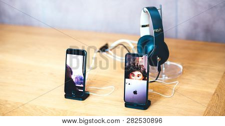 Paris, France - Dec 16, 2018: Detail Of Apple Computers Iphone Xs Next To Iphone 8 Telephone Smartph