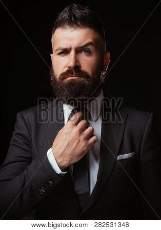 Bow-tie Trend. Man Suit Fashion. Business Confident. Meeting Suit. Businessman In Dark Grey Suit. Ma