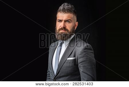 Business Confident. Meeting Suit. Businessman In Dark Grey Suit. Man In Classic Suit, Shirt And Tie