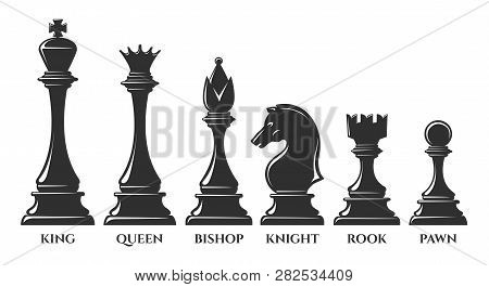 Chess Pieces. Vector Chess Piece, Knight And Pawn, Bishop And Queen, Success Strategy Elements Isola