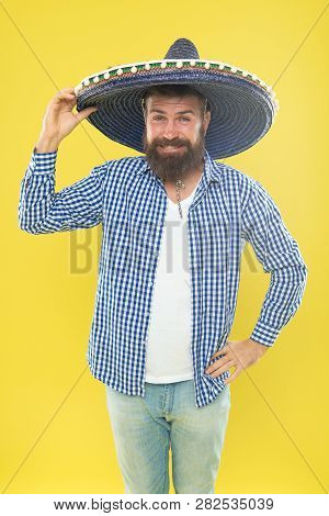 Great Party Hat. Traditional Fashion Accessory For Mexican Costume Party. Bearded Man In Mexican Hat