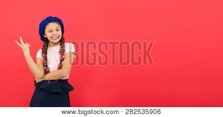 Just Having Fun. Summer Holidays. Kid Little Cute Fashion Girl Posing With Long Braids And Hat Red B