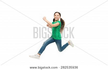 Active Game For Children. Kid Captured In Motion. How Raise Active Kid. Free And Full Of Energy. Rul