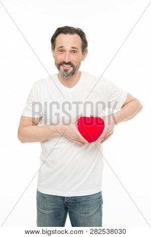 Preventing Heart Attack. Valentines Man Holding Red Toy Heart In Hands. Handsome Mature Man With Val