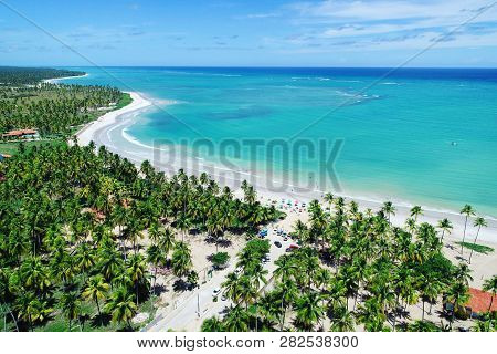 Vacation On Deserted Beach In Brazil. São Miguel Dos Milagres, Alagoas, Brazil. Fantastic Landscape.