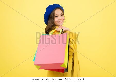 Birthday And Christmas Presents. Big Sale In Shopping Mall. International Childrens Day. Small Girl