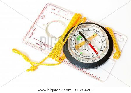 compass with scales and rules isolated on white