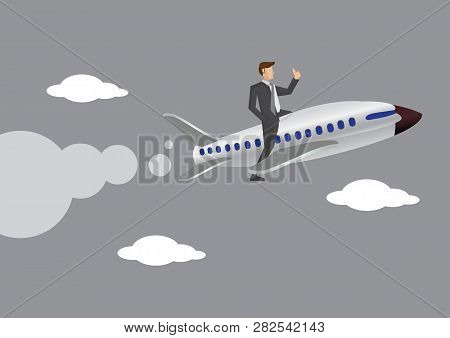 Side View Of Businessman With Thumbs Up Gesture Literally On Commercial Airplane In The Sky. Creativ