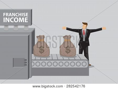 Cartoon Businessman Stands In Front Of Money Production Machine With Title Franchise Income And  Sac