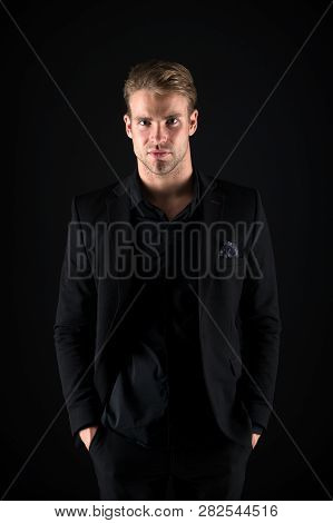 Feeling Confident. Male Beauty And Masculinity. Guy Attractive Stylish Confident Model. Confident In