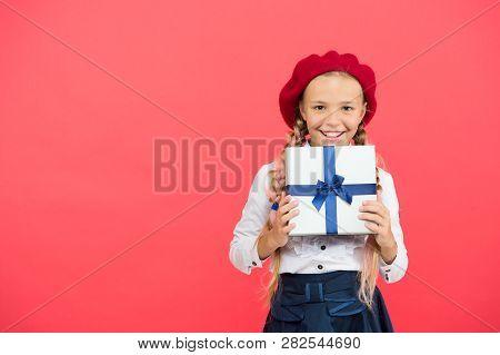Thank You So Much. Birthday Wish List. Happy Birthday Concept. Girl Kid Hold Birthday Gift Box. Ever
