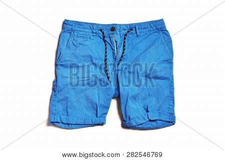 Blue Short Pants For Men Isolated On White Background.