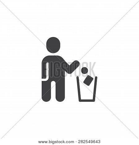 Man Throwing Paper Into Dustbin Vector Icon. Filled Flat Sign For Mobile Concept And Web Design. Man