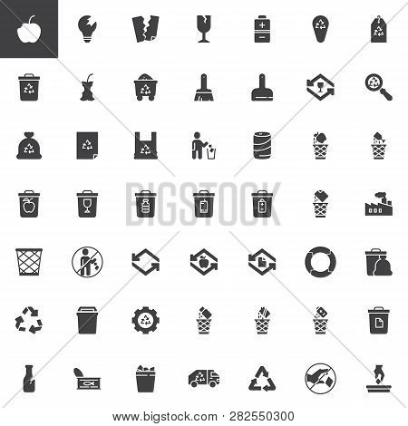 Garbage And Recycling Vector Icons Set, Modern Solid Symbol Collection, Filled Style Pictogram Pack.