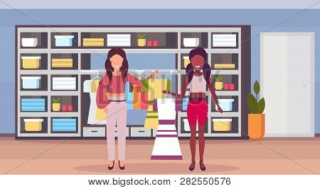 Woman Fashion Boutique Owner Holding Dress For African American Girl Client Big Shop Female Clothes