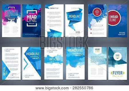 Vector Set Of Design Elements Template For Business Brochure, Leaflet, Poster Or Flyer On Blue Water