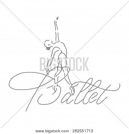 Vector Illustration Ballerina Icon In Dance. Design Poster Ballet School, Dance Studio