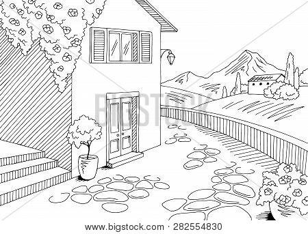 Old Street Road Graphic Black White Rural Landscape Sketch Illustration Vector