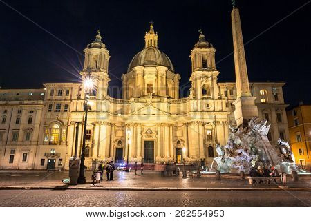 Rome, Italy - January 9, 2019: Architecture of the Piazza Navona at night in Rome, Italy